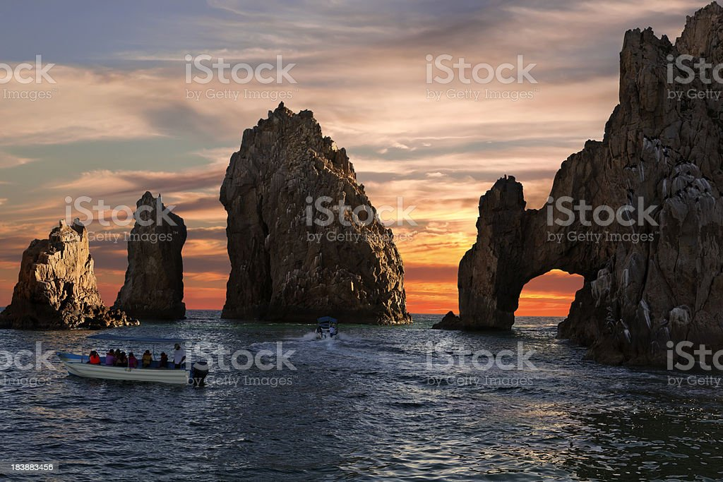 Land's End & Arch at Sunset stock photo