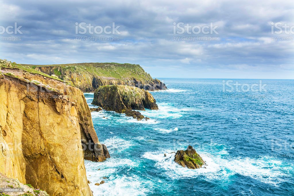 lands end Cornwall coastline stock photo