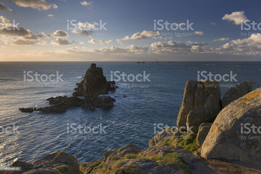 Lands End Cornwall England at sunset stock photo
