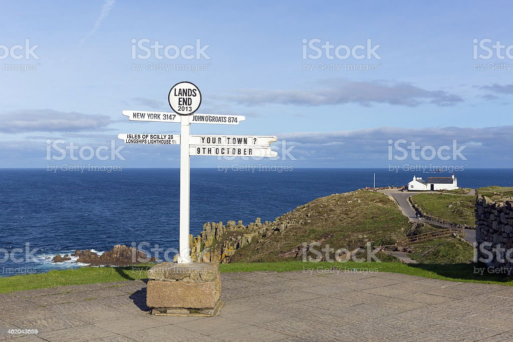 Lands End Cornwall England English tourist attraction stock photo