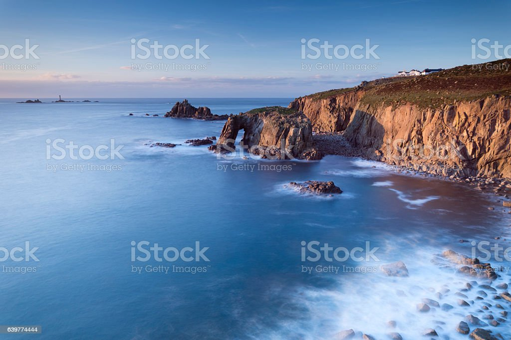 Lands End in Cornwall at sunset stock photo