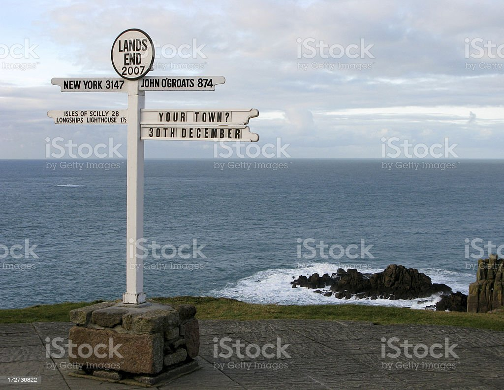 Lands End Sign Cornwall England stock photo