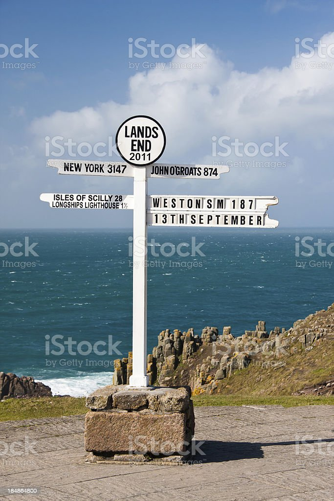 Lands End Sign Post in Cornwall stock photo