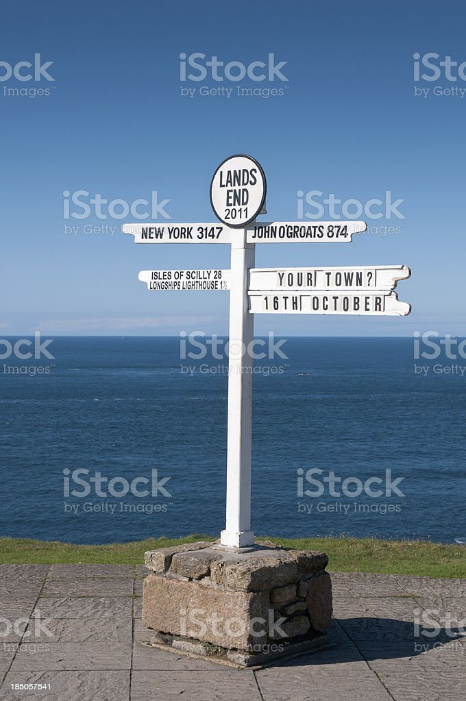 Lands End Signpost In Cornwall, England stock photo
