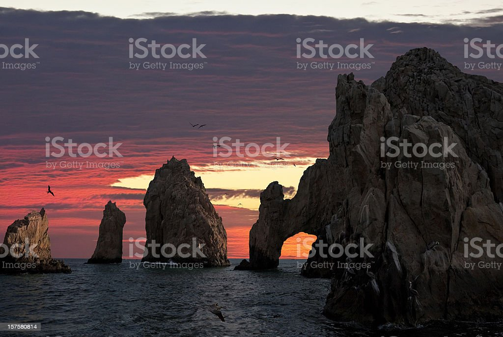 Land's End & the Arch at Sunset stock photo
