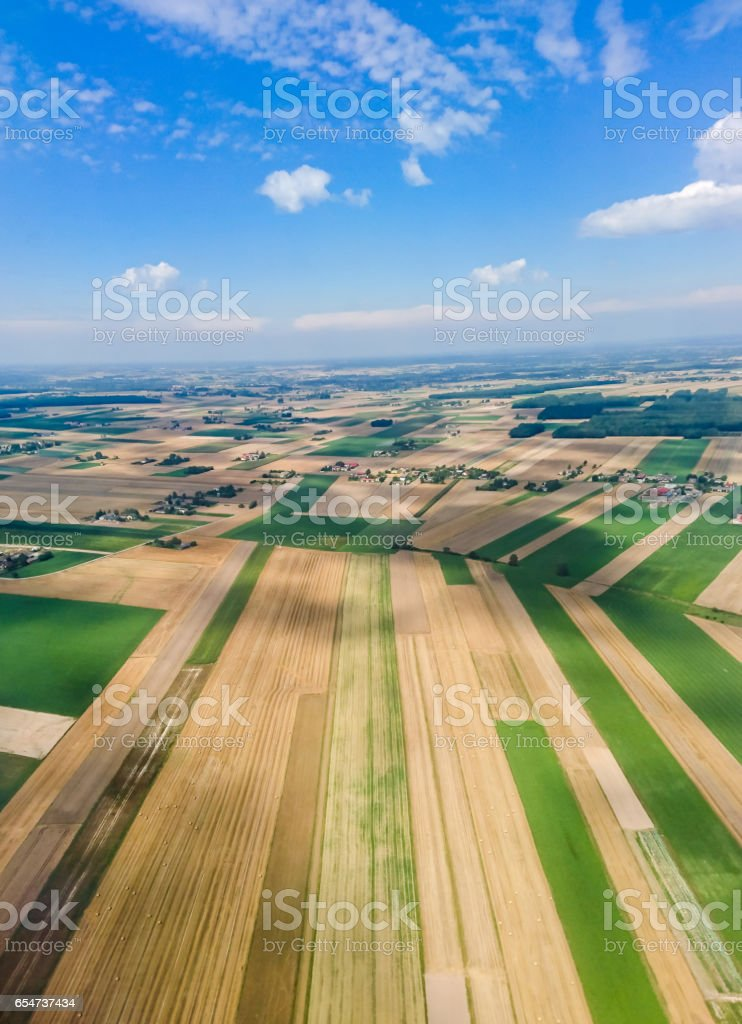 Lands seen from sky stock photo