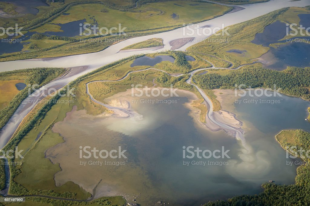 Landscape aerial photo from Skierfe top Sarek national park Sweden stock photo