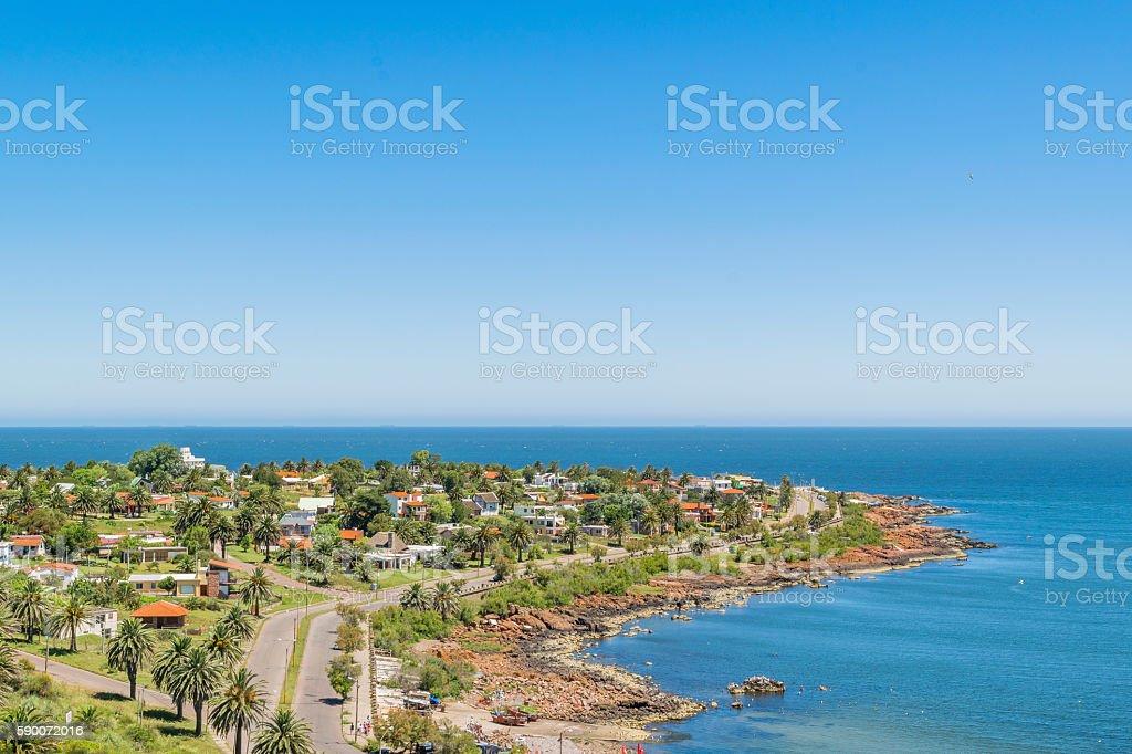 Landscape Aerial View Punta Colorada Uruguay stock photo