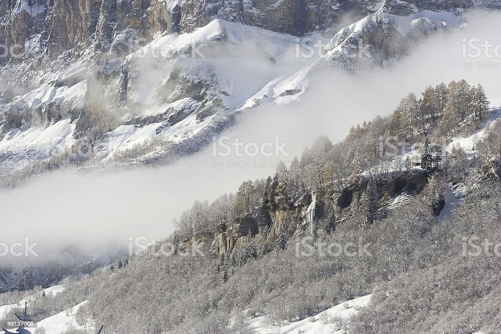 Landscape after snowfall stock photo