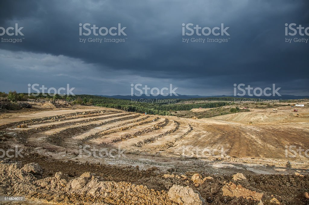 Landscape altered by earthworks stock photo