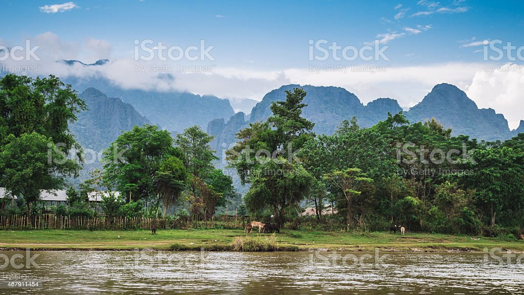 Landscape and mountain in Vang Vieng, Laos. stock photo