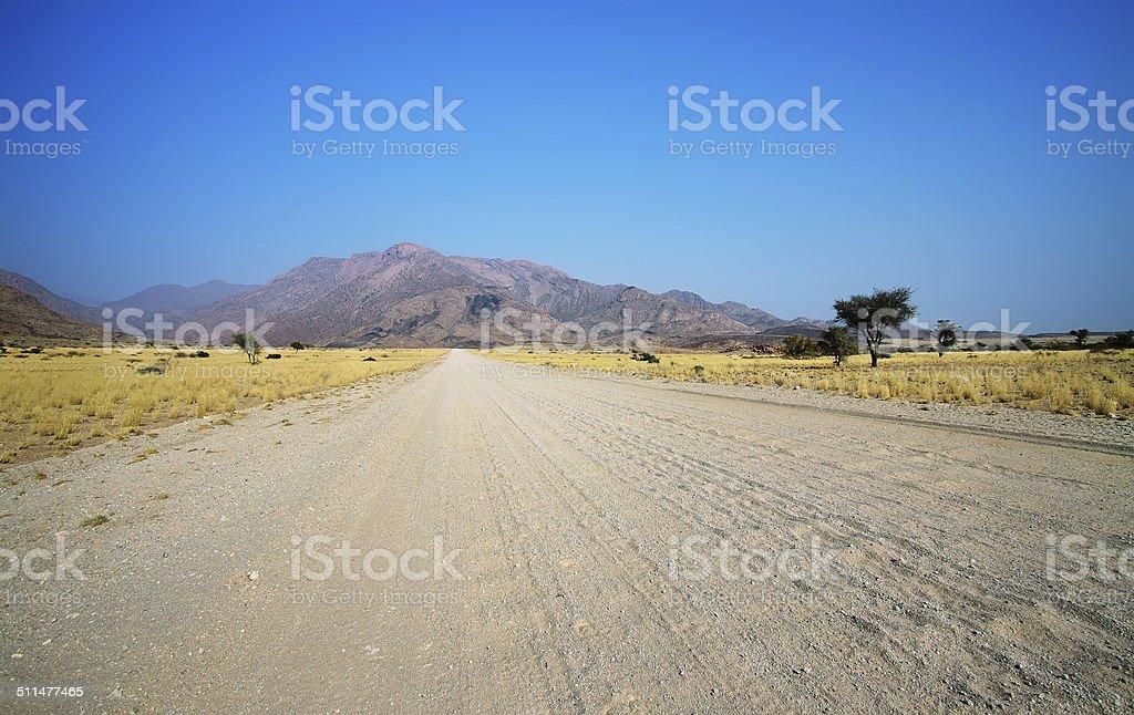 Landscape and road in Damaraland area stock photo