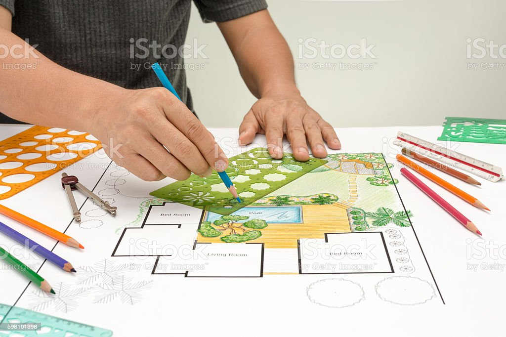 Landscape architect design backyard plan stock photo