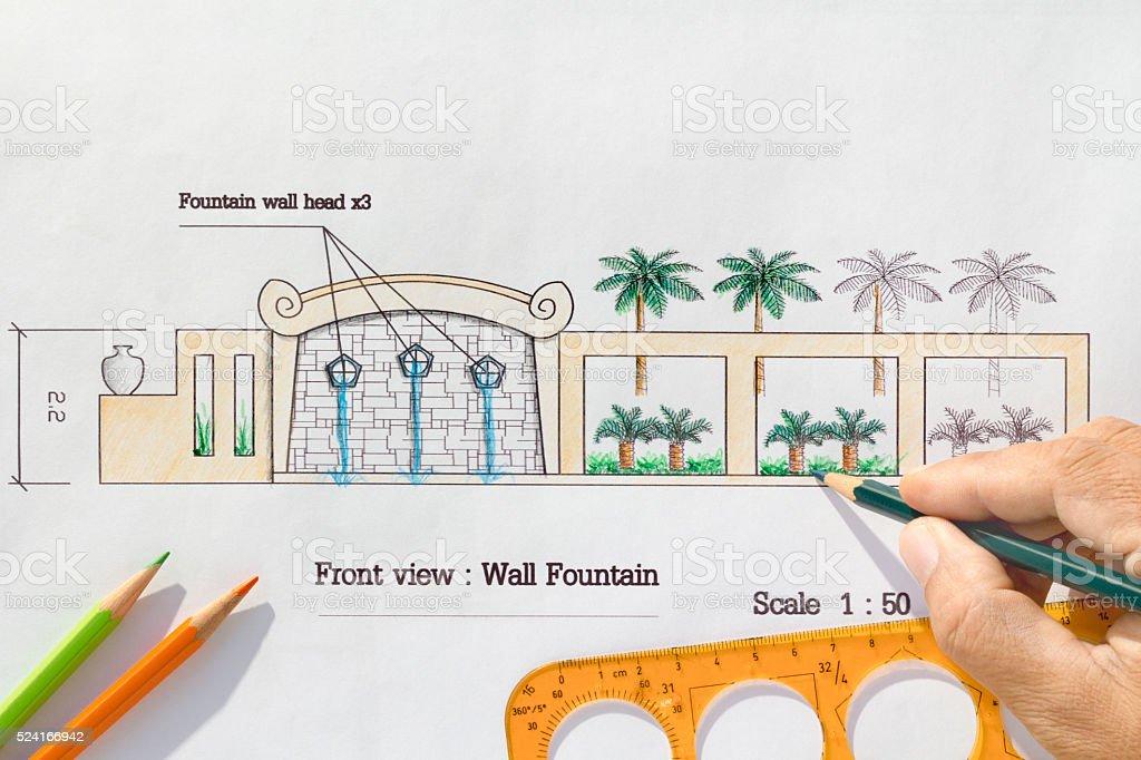 Landscape Architect design Modern wall fountain stock photo