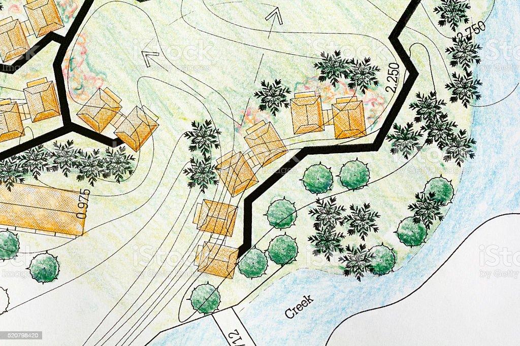 Landscape Architect Designing on site analysis plan stock photo