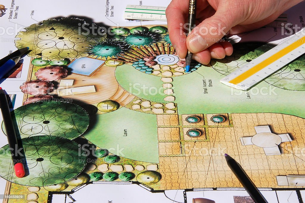 Landscape Architect Drawing royalty-free stock vector art