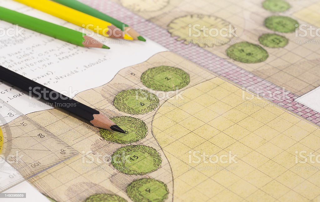 Landscape architect drawing stock photo