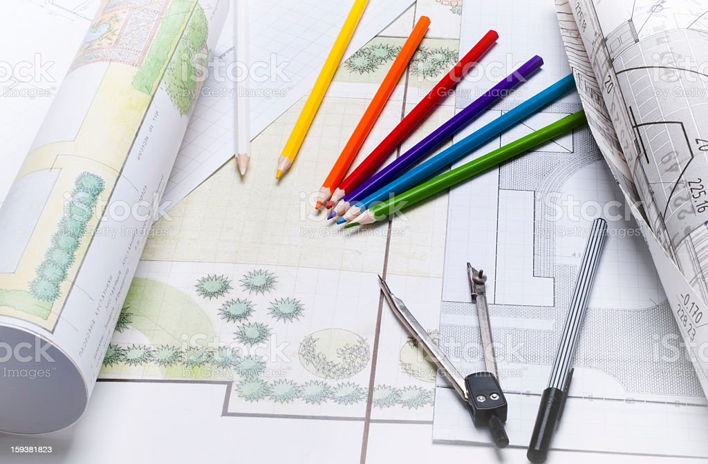 Landscape architect drawing royalty-free stock photo