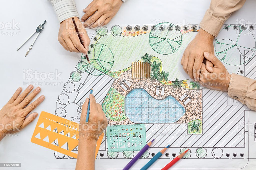 Landscape architect meeting with client stock photo