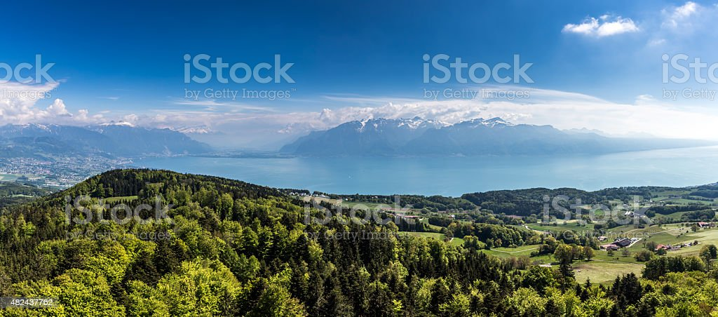 Landscape Around Lake Leman, Montreux, Switzerland stock photo