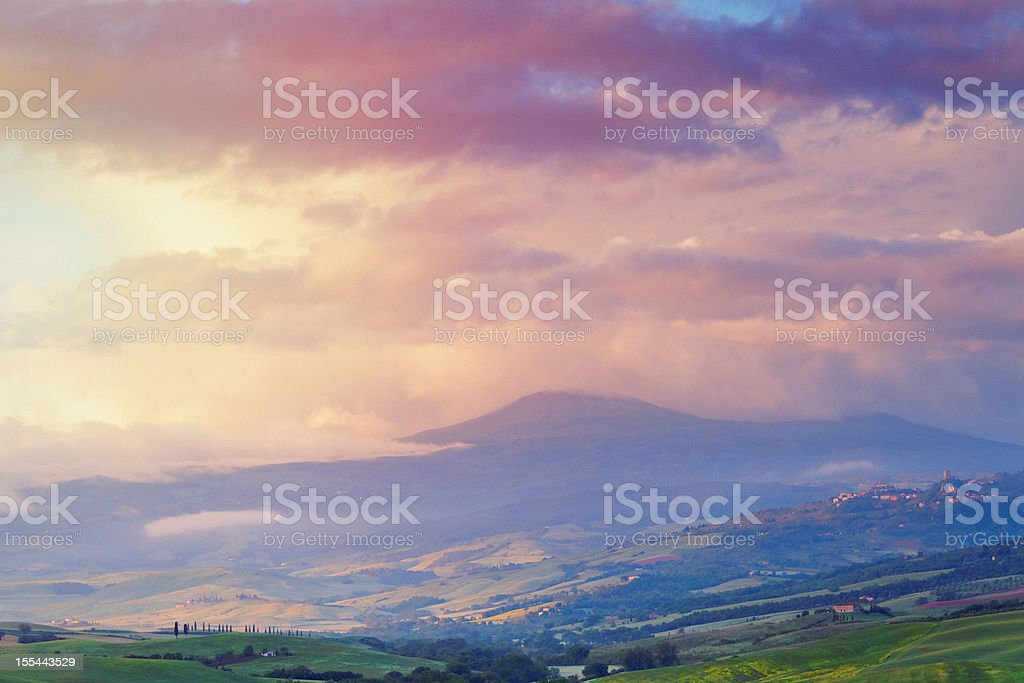 Landscape at dawn in Tuscany stock photo