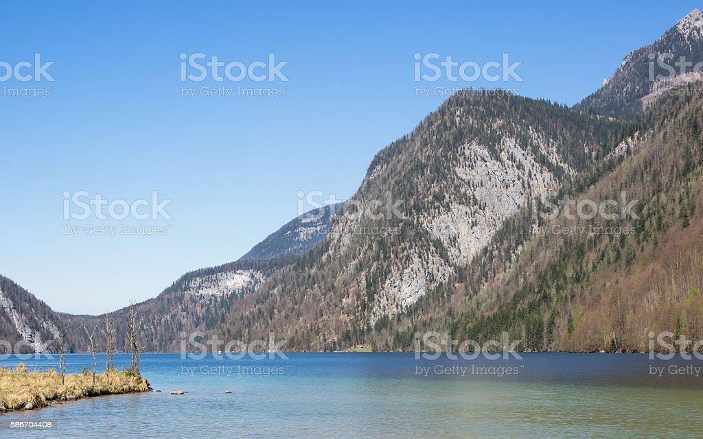 Landscape at lake Koenigssee, Berchtesgaden, Bavarian Alps, Germany stock photo