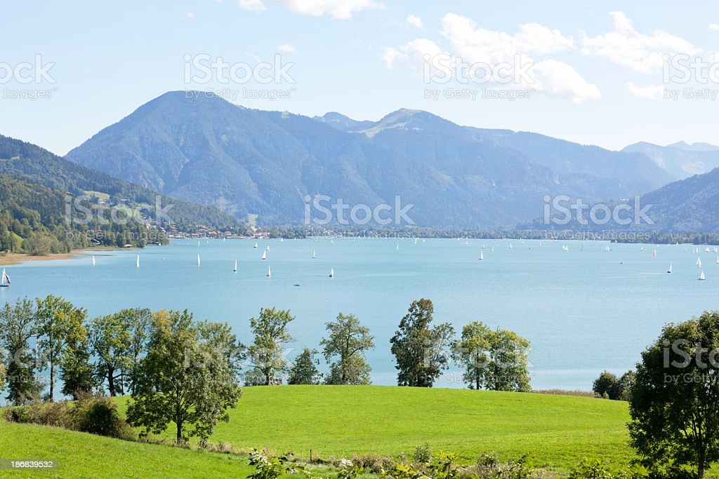 Landscape at Lake Tegernsee stock photo