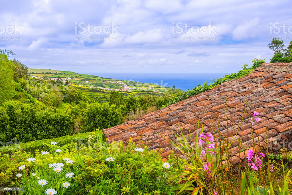 Landscape at Nordeste on Sao Miguel, Azores stock photo