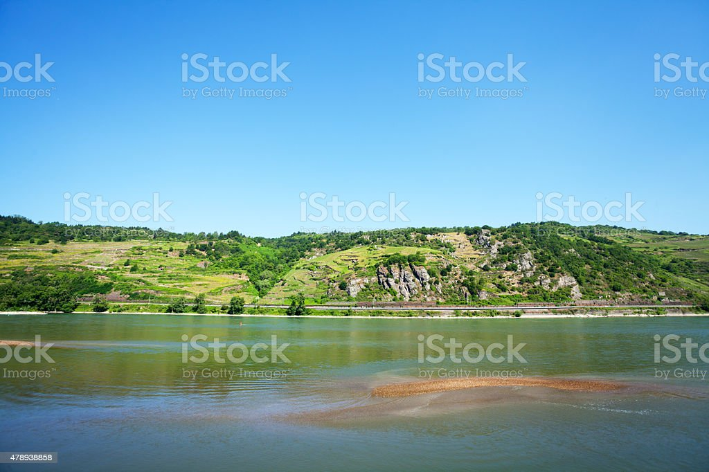 Landscape at Rhine in summer stock photo