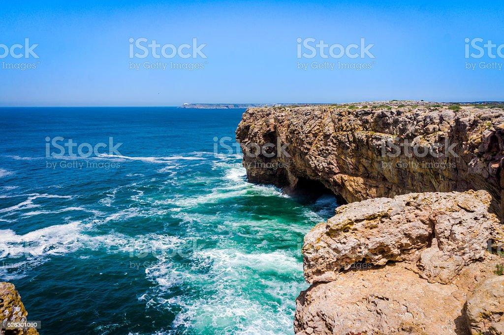 landscape at Sagres. Portugal.  Atlantic ocean .  Algarve stock photo