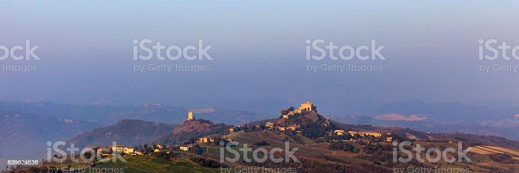 Landscape at sunrise - Emilia Romagna, Italy stock photo