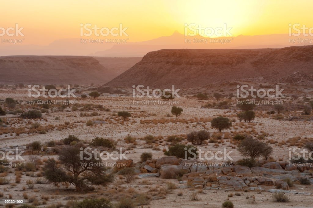 Landscape at sunset, Namibia stock photo