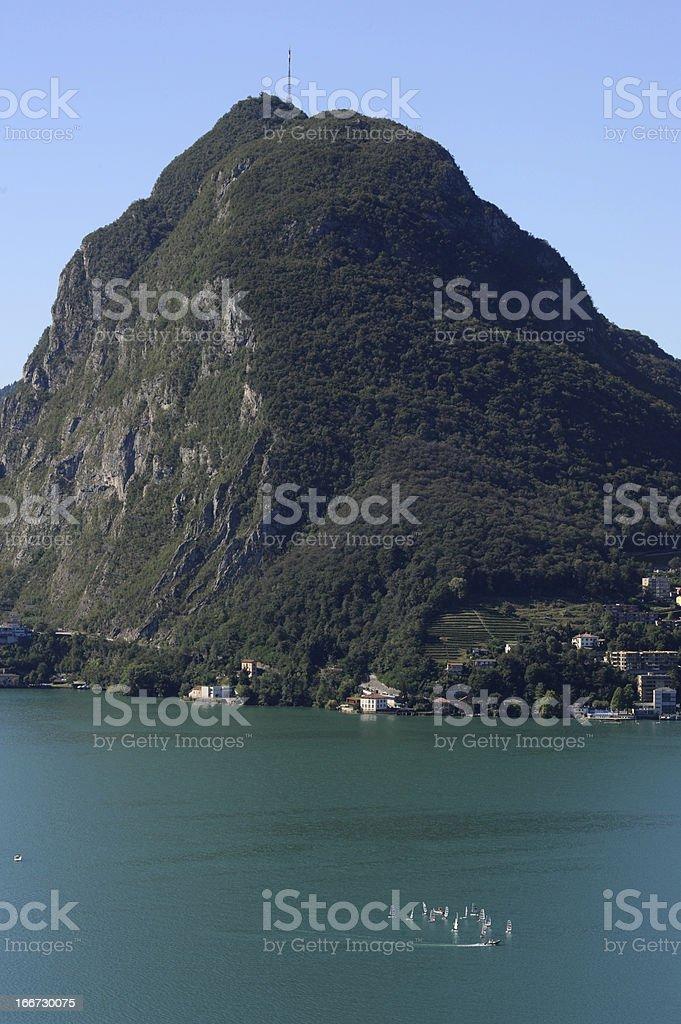 landscape at the Bay of lake Lugano royalty-free stock photo
