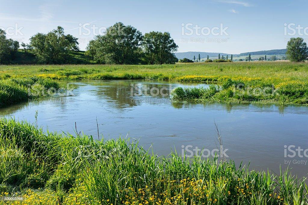 Landscape at the river Altmühl between Gunzenhausen and Treuchtlingen stock photo