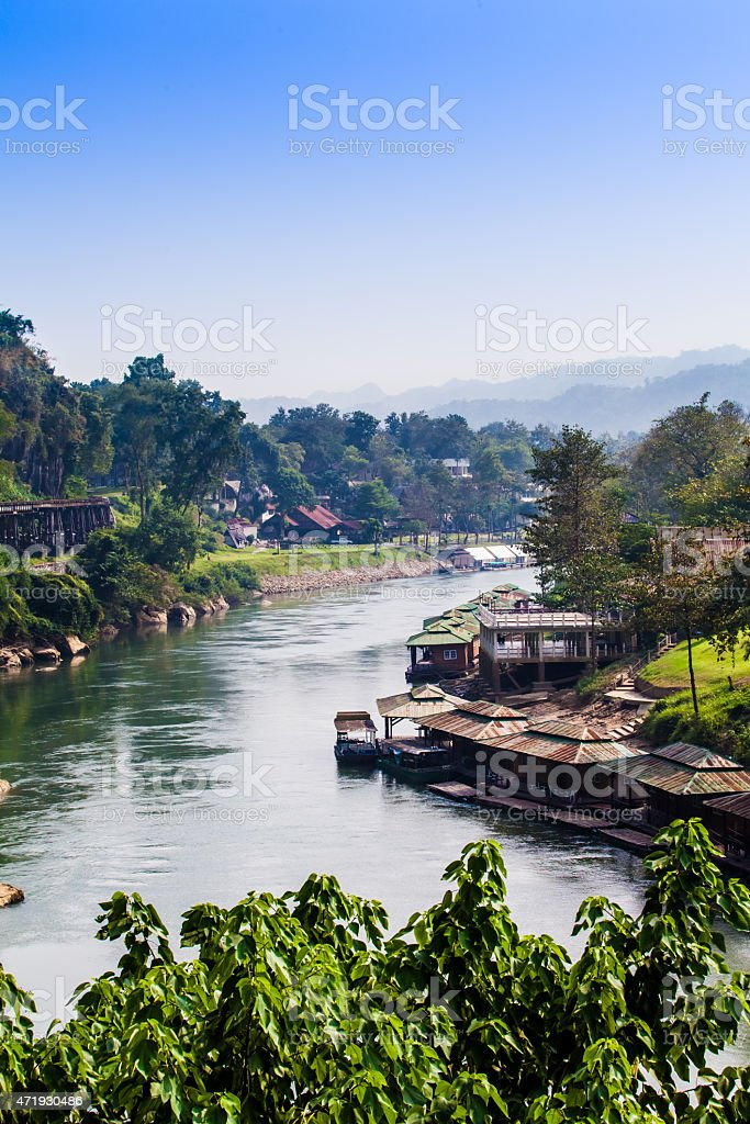 Landscape at the River Kwai, Kanchanaburi, Thailand. stock photo