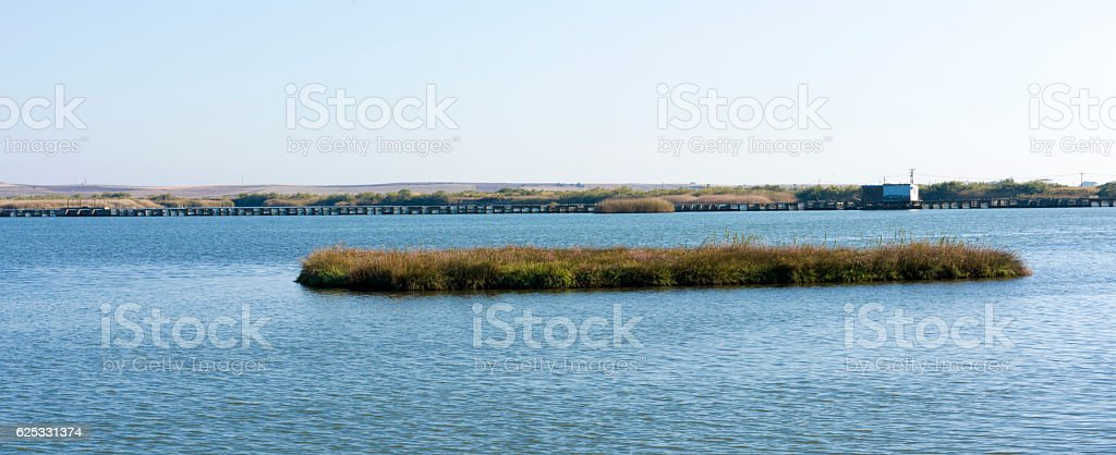 Landscape at Vistonida Lake stock photo