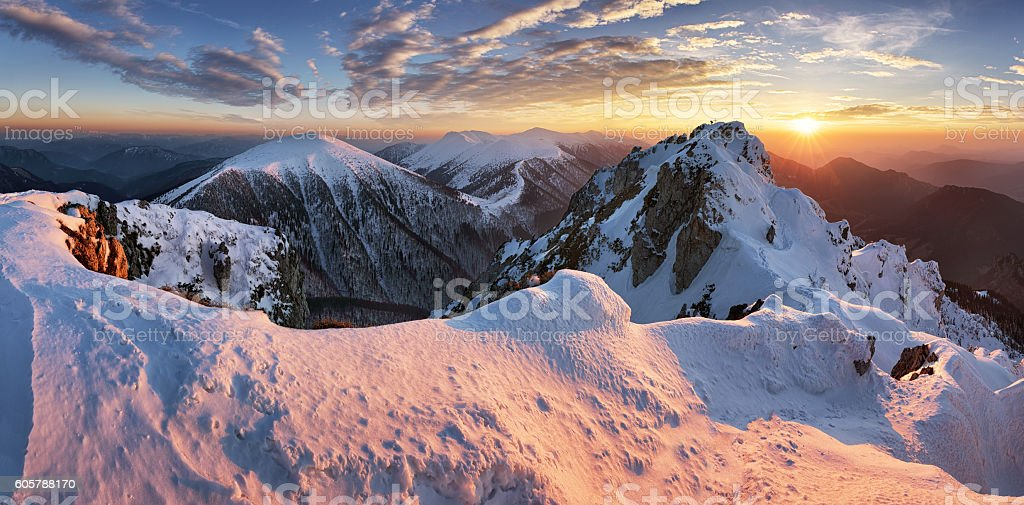 Landscape at winter in sunset moutain, Slovakia stock photo