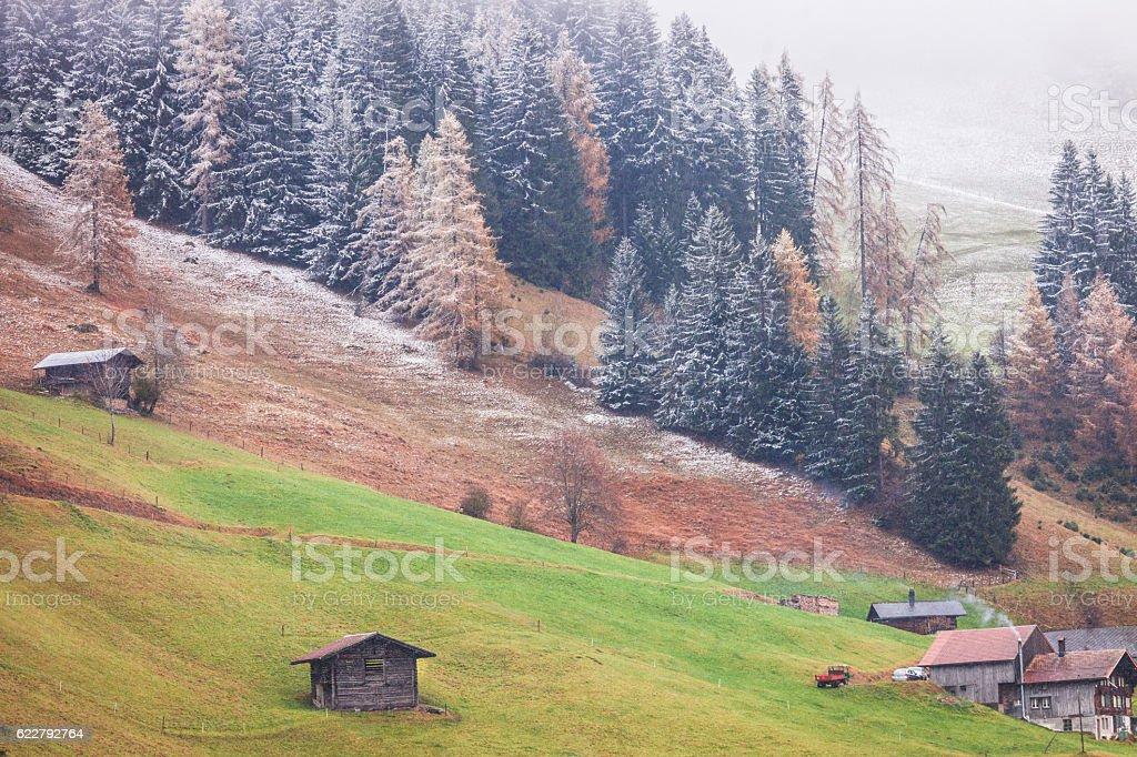 Landscape autumn scene Swiss Alps stock photo