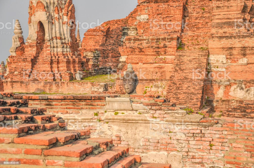 Landscape Ayutthaya Historical Park at Ayutthaya. The famous temple of the equivalent human Thailand. stock photo