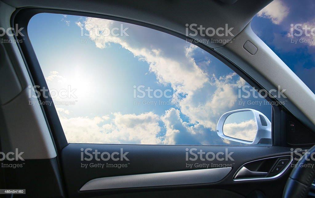 landscape behind  car window stock photo