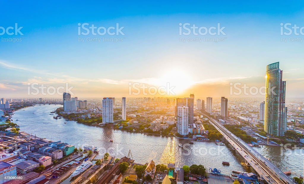 Landscape big city stock photo