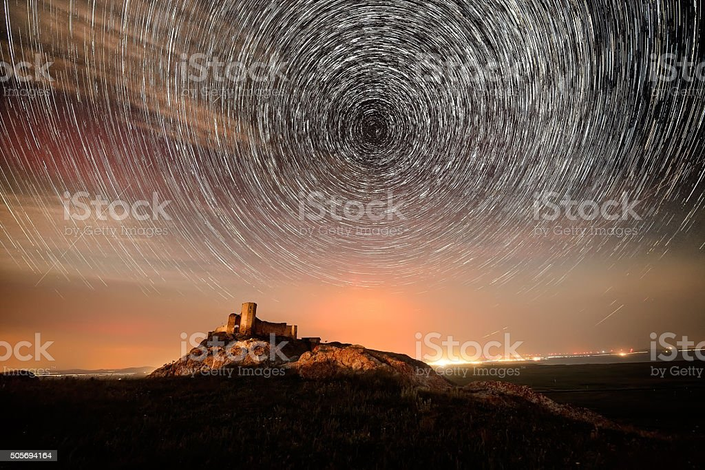 landscape by night in Dobrogea, Romania stock photo
