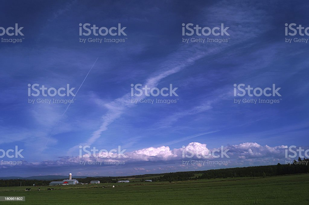 Landscape Canadian Farmland With Blue Cloudy Sky royalty-free stock photo
