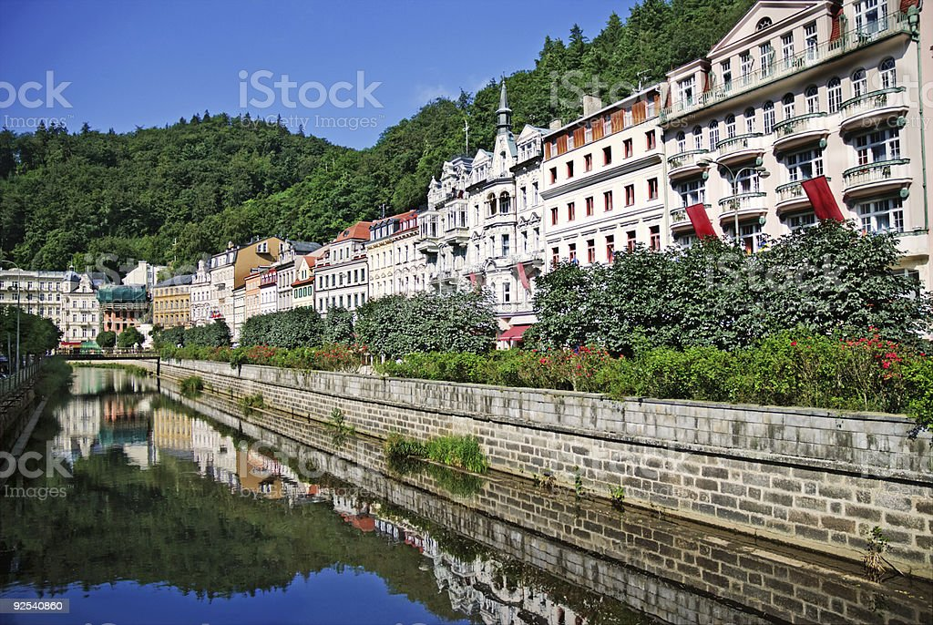 Landscape city center in Karlovy Vary royalty-free stock photo