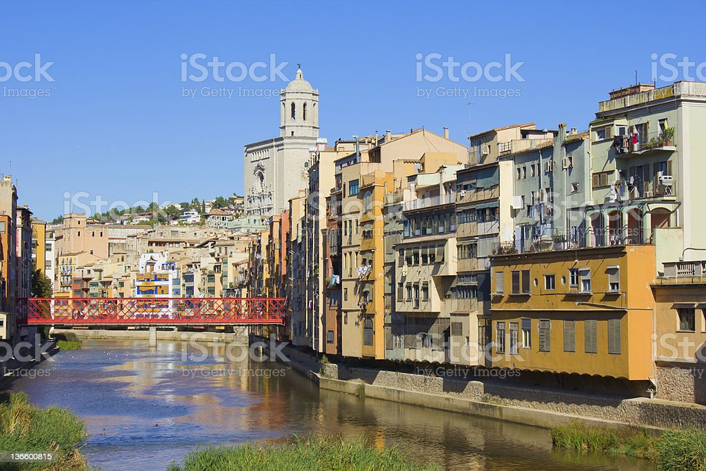 Landscape colors of the old town canal of Girona, Spain stock photo