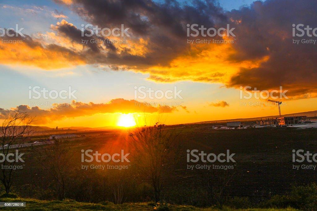 landscape construction highway sunset stock photo