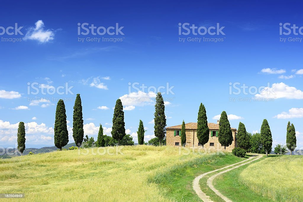 Landscape - Cottage on green knoll royalty-free stock photo