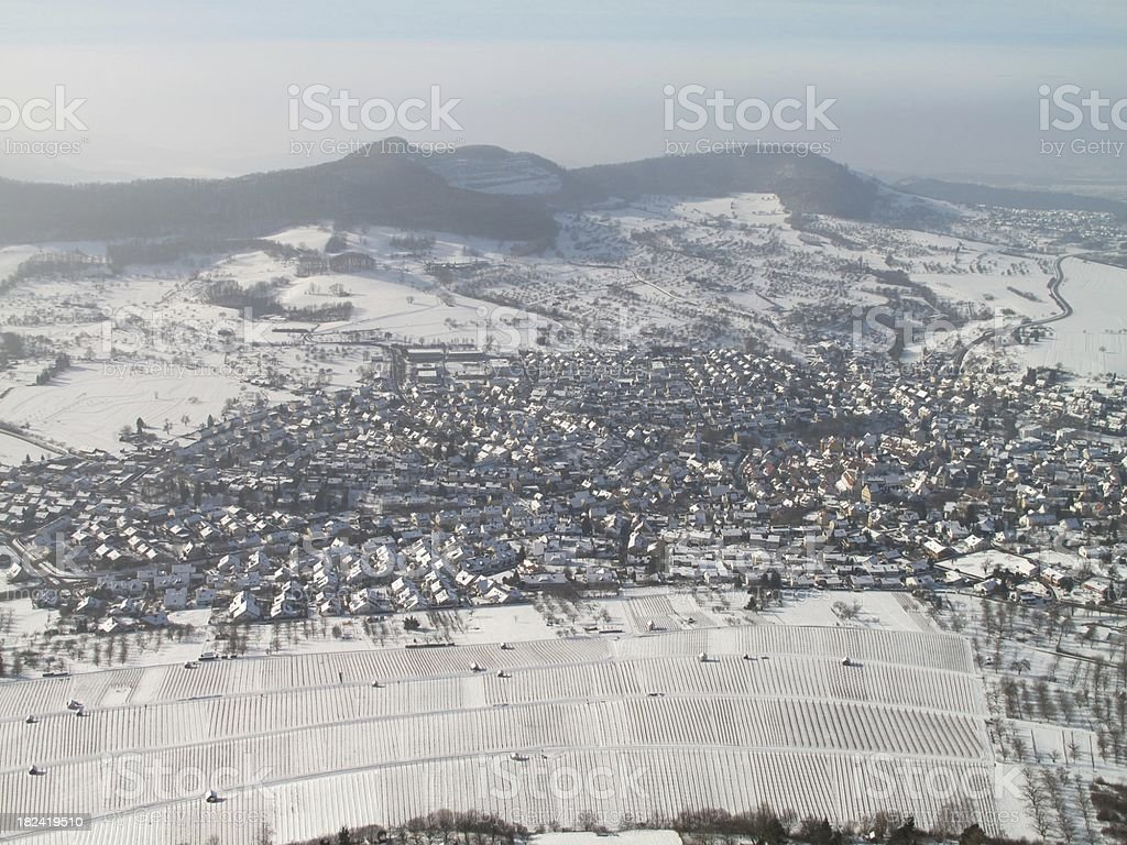 Landscape covered with snow stock photo