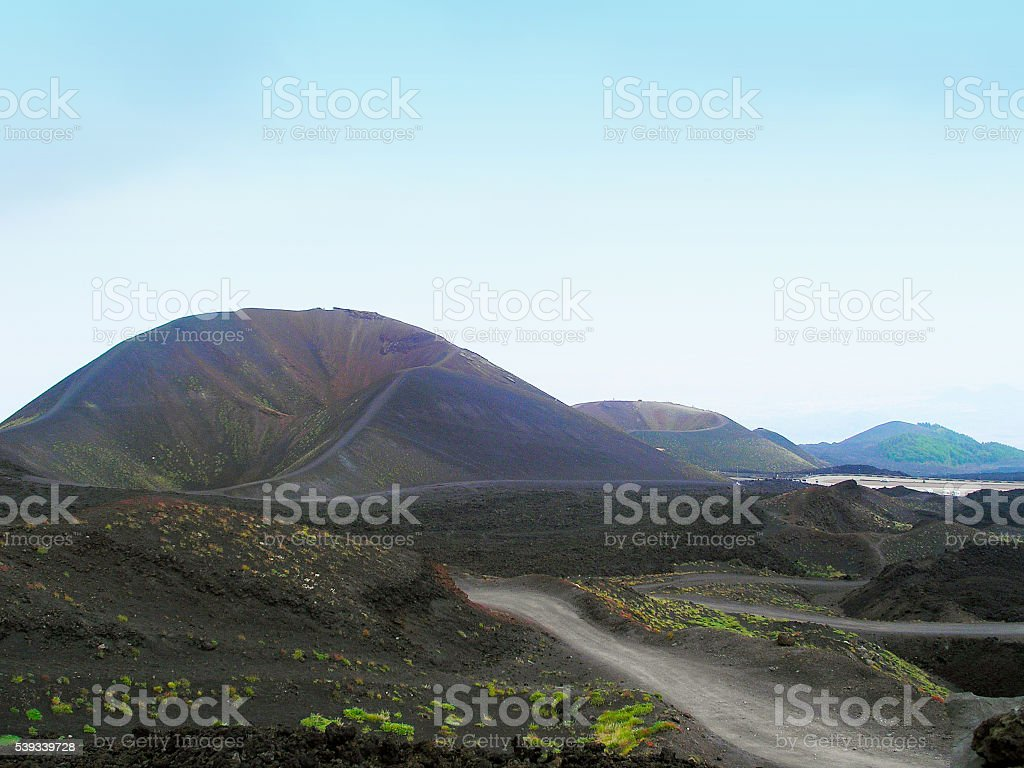 Landscape Craters of Etna. stock photo