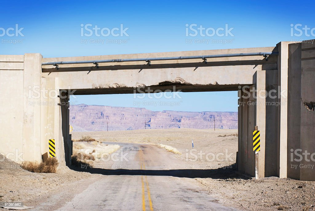 landscape desert road overpass stock photo